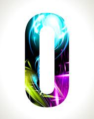 Vector design light effect alphabet. Letter  O.