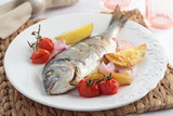 Baked sea bream with vegetables