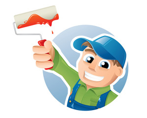 Vector illustration of a happy painter presenting a paint roller