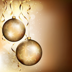 Two golden baubles on dark background with stars and streamers