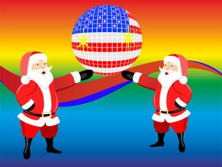 Weihnachtsmänner mit Discokugel