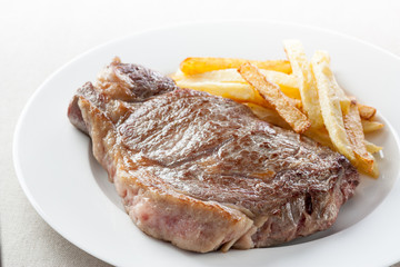 roasted beef steak with fries