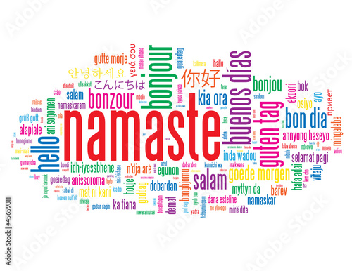"""NAMASTE"" Tag Cloud (greetings salutation hello respect welcome)"