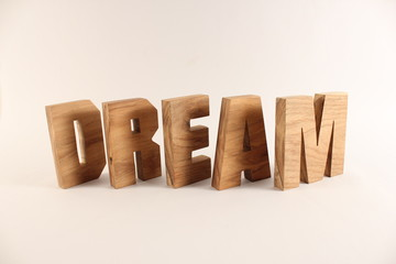 DREAM text animation with wooden letters version 2