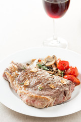 roasted beef steak with fried vegetables