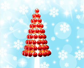 Christmas tree glossy red baubles 3d render