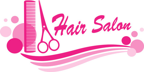 hair salon sign with scissors and design elements
