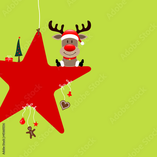 Sitting Rudolph On Red Star & Symbols Light Green