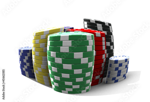 poker chips - isolated on white