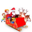 santa sitting in the sleigh with deer