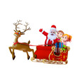 santa claus with sleigh and kids