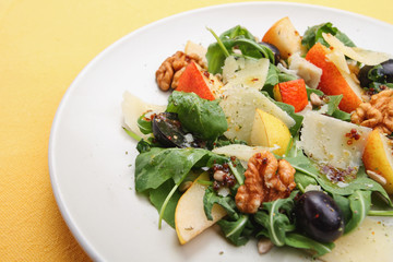 Salad with  pears,walnuts, grapes and parmesan