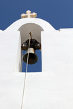 White church bell tower in greece