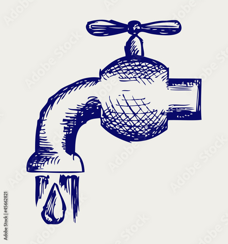 Dripping tap with drop. Doodle style