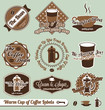 Vector Set: Vintage Cup of Coffee Labels and Stickers