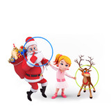 santa with playing ring and cute girl