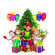 elves sitting before christmas tree with kids