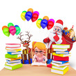 santa with girl and many books