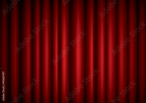 Closed red theater silk curtain background with wave, EPS10