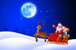 santa on blue background