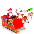 santa claus with reindeer and laptop