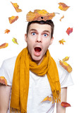 Surprised Person Having Fun With Tree Leaf On Head