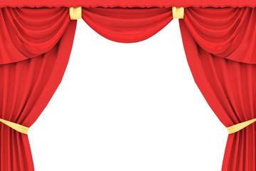 red curtain in 3D