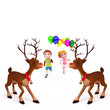 reindeer with kids and balloons