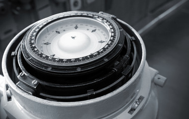 Naval magnetic compass monochrome photo