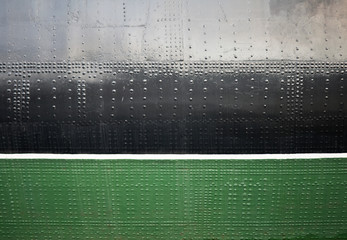 Old ship black and green hull texture with waterline