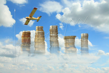 Coins, Growth Diagram, Plane Against the Sky