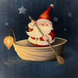 Santa Claus and walnut shell