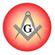 WEB ART DESIGN Button Masonic Tools Compass Set Square020