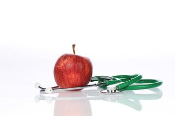 Apfel mit Stethoskop