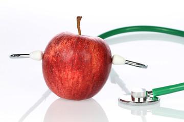Apfel mit Stethoskope