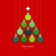 Christmas Tree Hanging Balls Pattern Green/Red/Silver