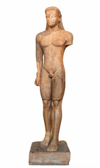 Marble statue of a Kouros (600 B.C.), found at Sounion, Attica