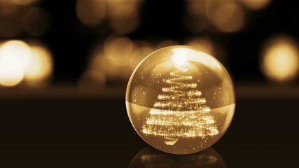 Christmas tree in golden glass ball