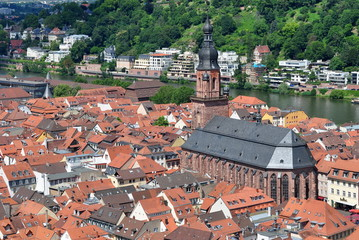 aerial view to city Heidelberg in Germany