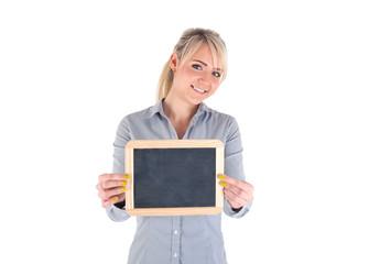 Frau mit Tafel