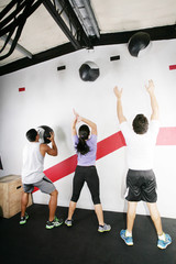 Man and Woman Doing Crossfit on gym. Crossfit Series