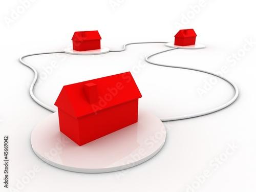 vernetzte Häuse in rot