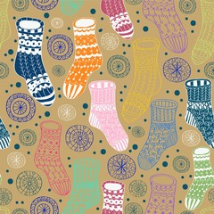 Seamless background with decorative winter stockings
