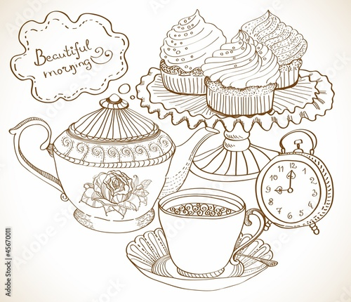 vintage tea background, set for breakfast