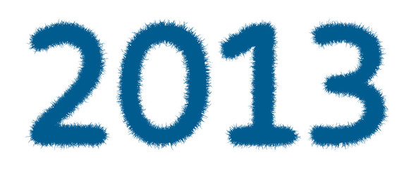 happy new year 2013. Furry 2013 numbers isolated on a white back