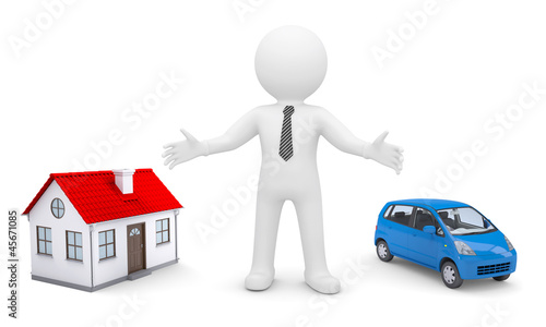 White man indicates his hands on the house and car