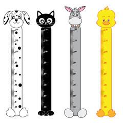 medidor para niños de pared. Animales