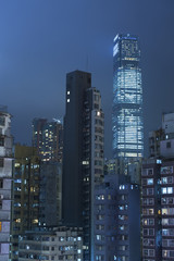 Old apartments and modern skyscrapers in Hong Kong
