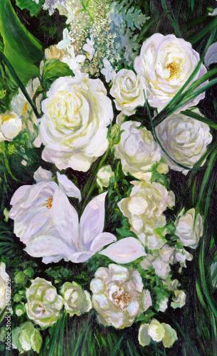 Fototapeta bouquet of white roses, canvas, oil