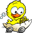 illustration of an cute baby chicken driving in a eggshell